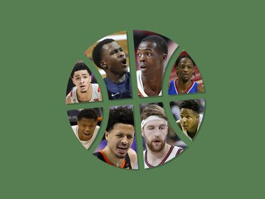 Clockwise starting in the top left: Micah Peavy, Max Abmas, Andrew Jones, Marcus Garrett, Mark Vital, Drew Timme, Cade Cunningham and Marcus Sasser.