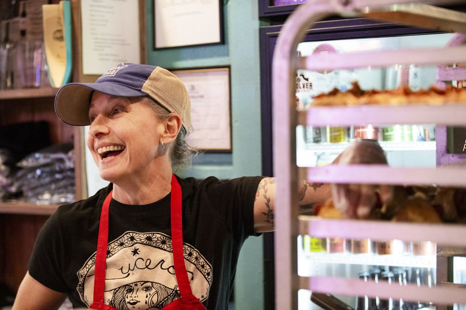 Katherine Clapner, the owner/chef of Dudem Sweet Chocolate, prepares orders during a pop-up event at The Slow Bone in Dallas.