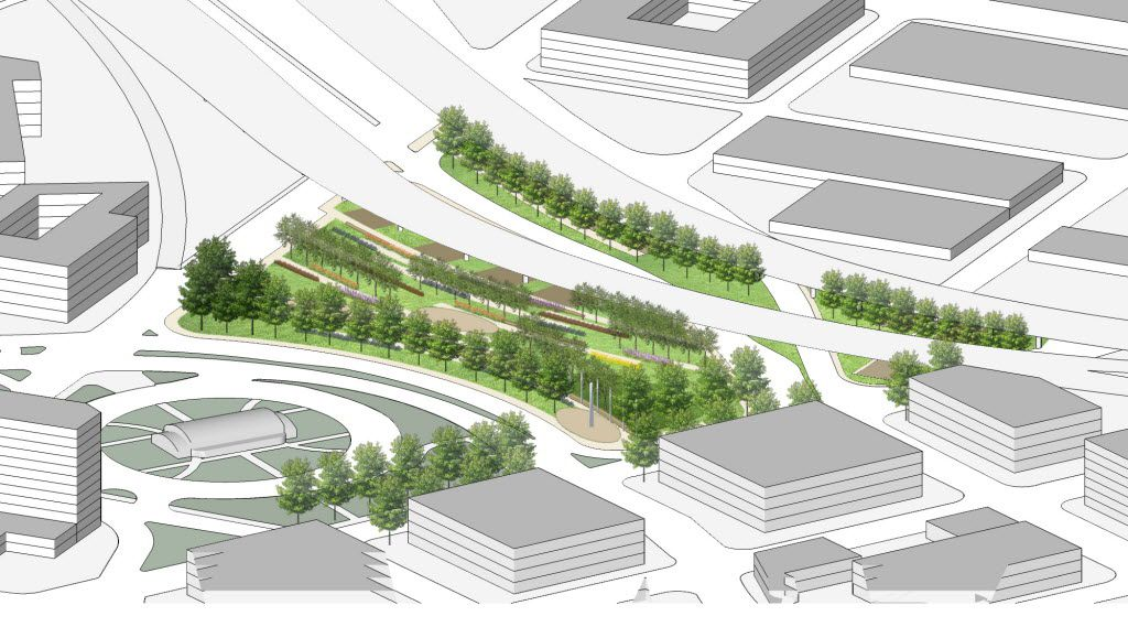 A conceptual rendering showing an aerial view of the location for Carpenter Plaza (including the current location of Carpenter Park).  The Belo Foundation announced an ambitious plan Thursday, Oct. 29, 2015 to realize a longstanding vision for downtown by creating 17 acres of new green space through the construction of four major parks. The plan calls for $70 million in private and public funding to build the parks within the next 10 years, with the Belo Foundation pledging $30 million toward the effort. The four parks Ã' Harwood Park, Carpenter Park, Pacific Plaza and West End Plaza Ã' were listed as high priorities in the 2013 update of the downtown parks master plan.