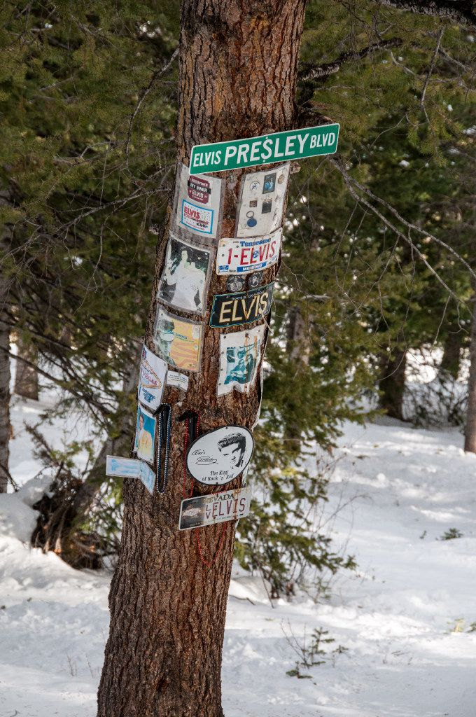 Elvis Presley shrine, Aspen Mountain Ski Area, Aspen, Colorado.