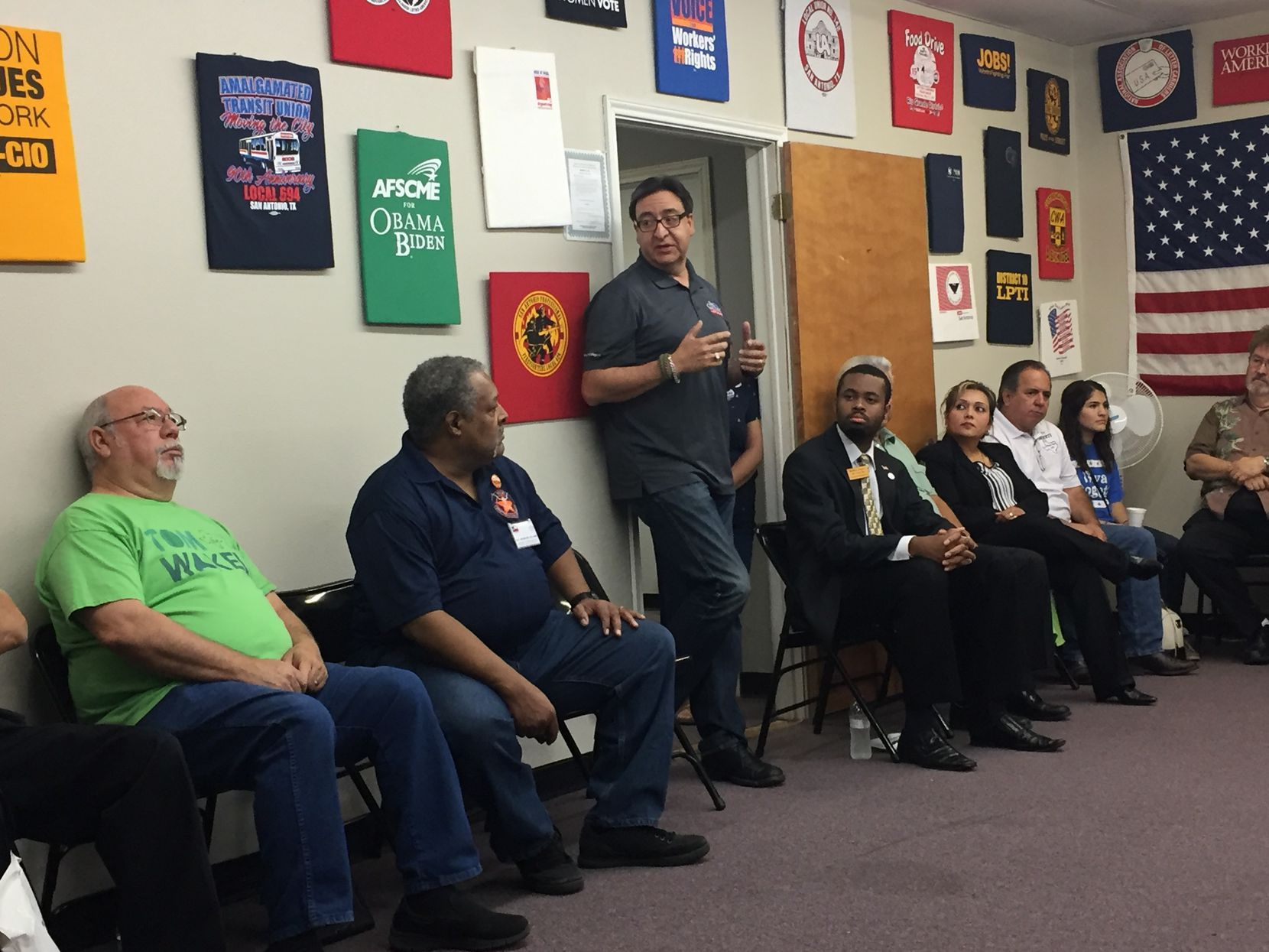 Democrat Pete Gallego, seeking to regain the congressional seat he lost to Republican Will Hurd in 2014, spoke to members of the San Antonio AFL-CIO Council about the race this month.