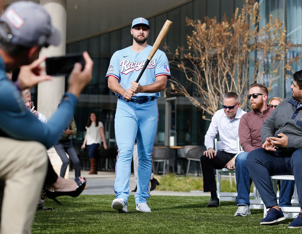 Texas Rangers Joey Gallo walks the aisle during the unveiling of the 2020 uniforms at Live! next to Globe Life Field in Arlington, Texas on Wednesday, December 4, 2019. (Vernon Bryant/The Dallas Morning News)