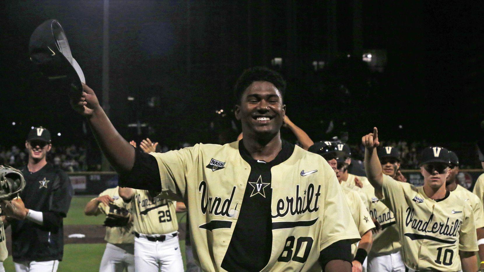 Vanderbilt's Kumar Rocker (80) tips his hat to fans after the team's NCAA college baseball tournament super regional game against Duke on Saturday, June 8, 2019, in Nashville, Tenn.