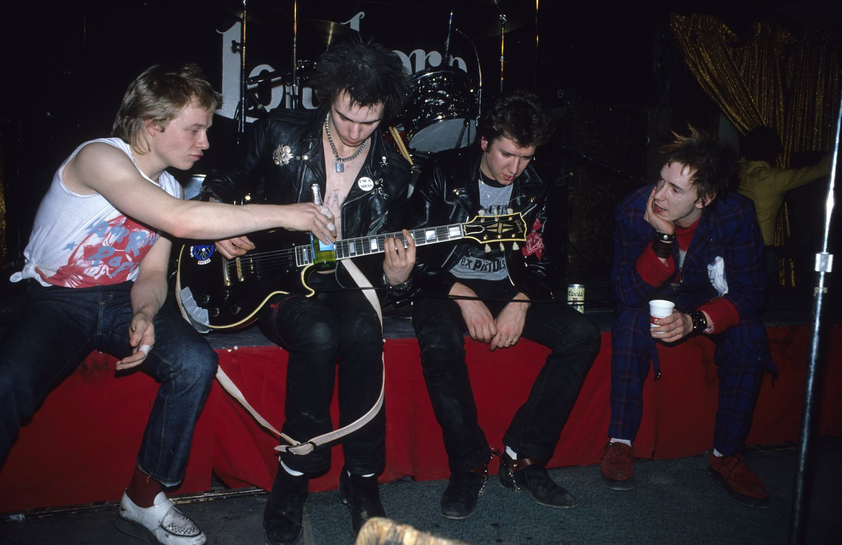The Sex Pistols, from left, Paul Cook, Sid Vicious, Steve Jones & Johnny Rotten (John Lydon) onstage at the Longhorn Ballroom in Dallas on their final tour.