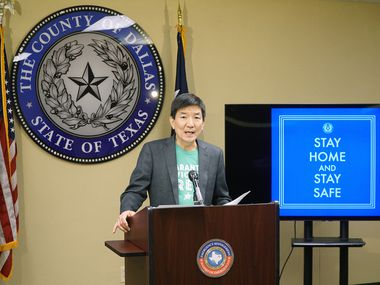 Dallas County Health and Human Services Director, Dr. Philip Huang gives an update on the Cover-19 response during a press conference at the Dallas County EOC in Dallas on Friday, April 10, 2020.