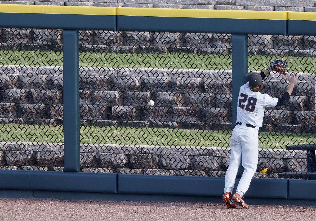 Oregon St. infielder Wade Meckler (28) watches Dallas BaptistÕs hitter River TownÕs two-run home run go over the right field wall in the eighth inning during the NCAA Division I Baseball Regional Championship game in Fort Worth, Texas on June 7, 2021. (Ron Jenkins/Special Contributor)