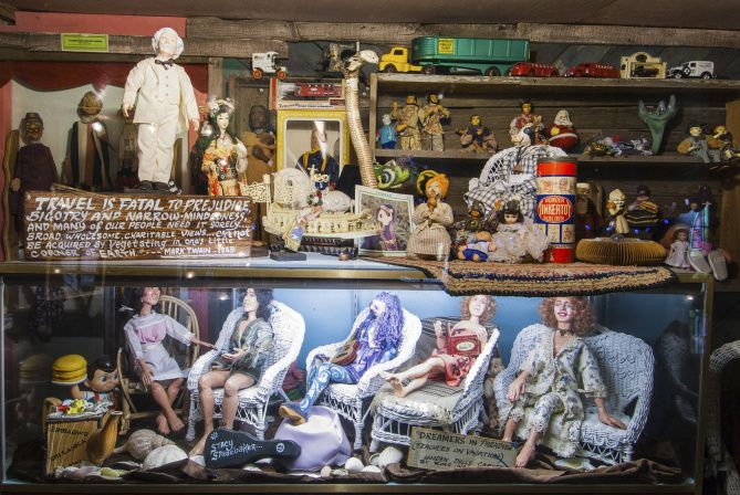 """The Tinkertown Museum's fantasia of folk art and repurposed junk was put together by Ross Ward, an eccentric artist with a sense of humor.  He liked to point out, """"We did this all while you were watching TV."""""""