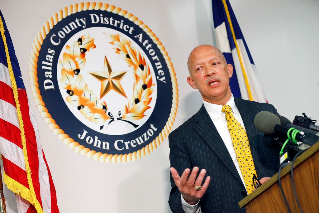 """District Attorney John Creuzot held a press conference at the Frank Crowley Courthouse in Dallas, a day after he announced that Dallas County will move away from """"criminalizing poverty."""" He has outlined a reform plan to decriminalize low-level crimes and decrease the use of excessive probation and bail. April 12, 2019.  (Tom Fox/The Dallas Morning News)"""