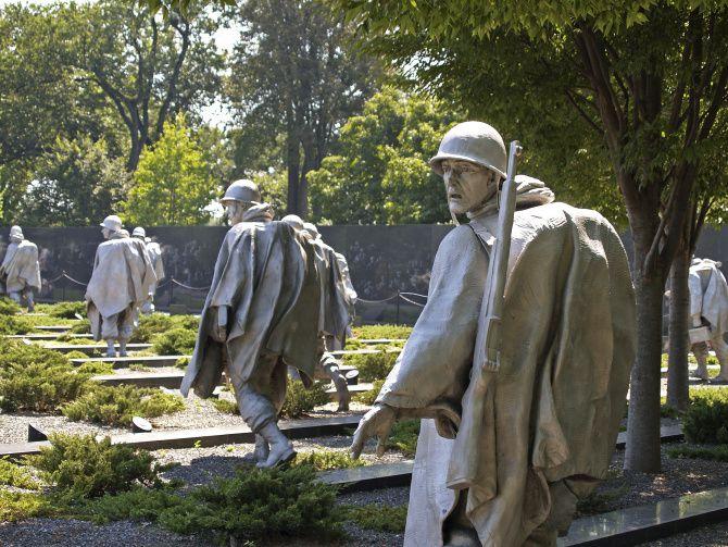 At the Korean War Veterans Memorial 19 statues represent soldiers making their way through the woods.