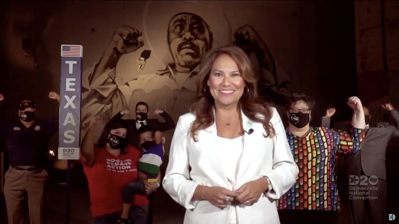 """Rep. Veronica Escobar, D-El Paso, announces the Texas delegates during the Democratic National Convention on August 18, 2020: """"With one abstention, the great state of Texas casts 98 votes for Bernie Sanders and 161 votes for our next president, Joe Biden."""""""