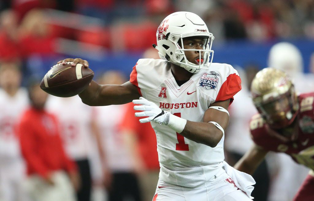 FILE - In this Dec. 31, 2015, file photo, Houston quarterback Greg Ward Jr. (1) works against Florida State during the first half of the Peach Bowl NCAA college football game in Atlanta. Oklahoma's defense might need to reach midseason form in the opener. Houston, led by explosive quarterback Ward, is ranked 15th and looking to make a jump on the big stage against the third-ranked Sooners on Saturday at Reliant Stadium. (AP Photo/John Bazemore, File)