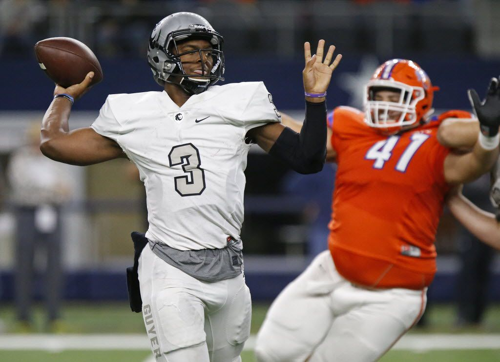 Denton Guyer High School quarterback Shawn Robinson (3) throws a pass as he is pressured by San Angelo Central High School defensive tackle Jordan Schellhase (41) during the second quarter as Denton Guyer High School hosted San Angelo Central High School at AT&T Stadium in Arlington on Friday, November 27, 2015.  (Stewart F. House/Special Contributor)