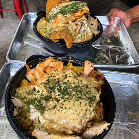 In addition to selling stuffed turkey legs, the food truck will sell Cajun bowls: dirty rice, crawfish mac and cheese, blackened salmon and grilled shrimp, covered in Alfredo sauce.