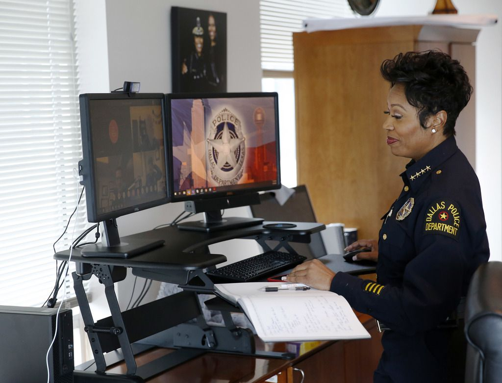 Dallas Police Chief U. Renee Hall during a meeting conducted via video conferencing to help maintain social distancing at Dallas Police Department headquarters in Dallas, on Thursday, April 2, 2020. (Vernon Bryant/The Dallas Morning News)