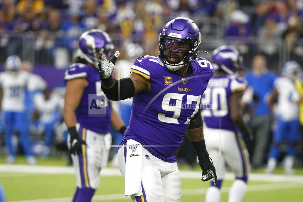 In this  Sunday, Dec. 8, 2019 file photo, Minnesota Vikings defensive end Everson Griffen gets set for a play during the second half of an NFL football game against the Detroit Lions in Minneapolis.