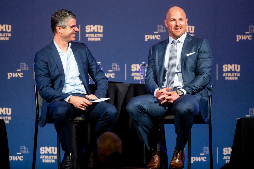 The Dallas Morning News Publisher Grant Moise chats with Dallas Cowboys tight end Jason Witten during the SMU Athletic Forum at Hilton Anatole hotel  in Dallas on Wednesday, April 24, 2019. (Shaban Athuman/Staff Photographer)