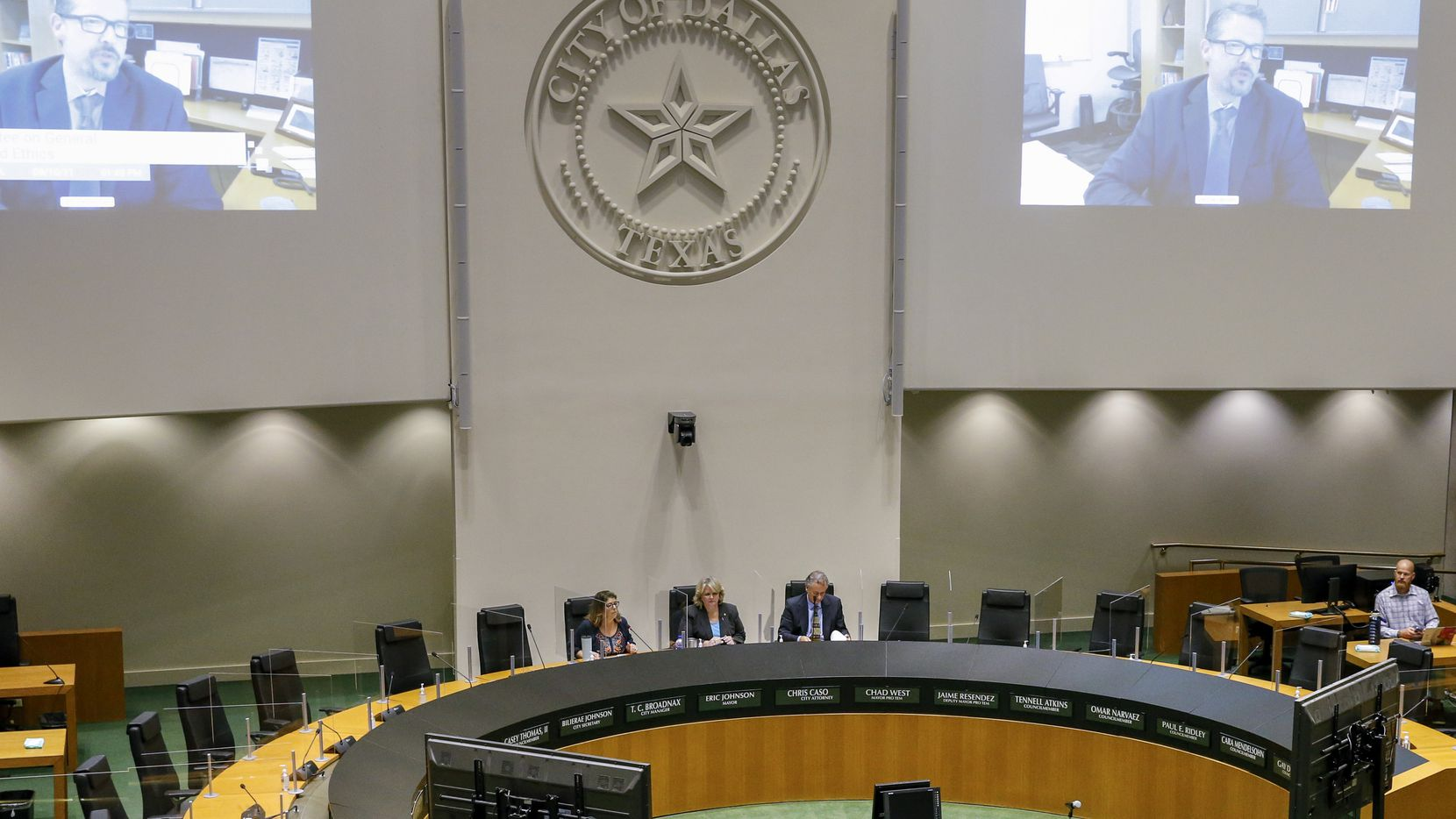 Chief information officer William Zielinski speaks virtually via video conference to members during a Dallas City Council committee meeting at Dallas City Hall on Friday, Sept. 10, 2021, in Dallas. (Elias Valverde II/The Dallas Morning News)