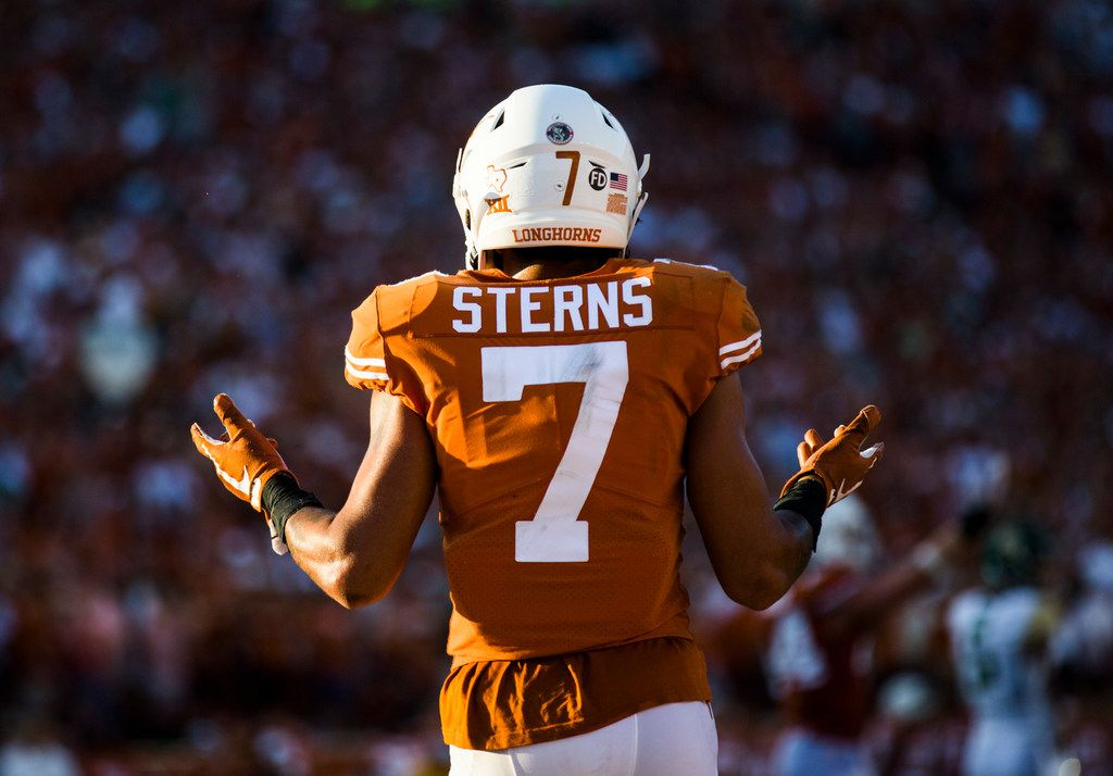 Texas Longhorns defensive back Caden Sterns (7) signals to fans to cheer during the fourth quarter of a college football game between Baylor and the University of Texas on Saturday, October 13, 2018 at Darrell K Royal Memorial Stadium in Austin, Texas.  (Ashley Landis/The Dallas Morning News)