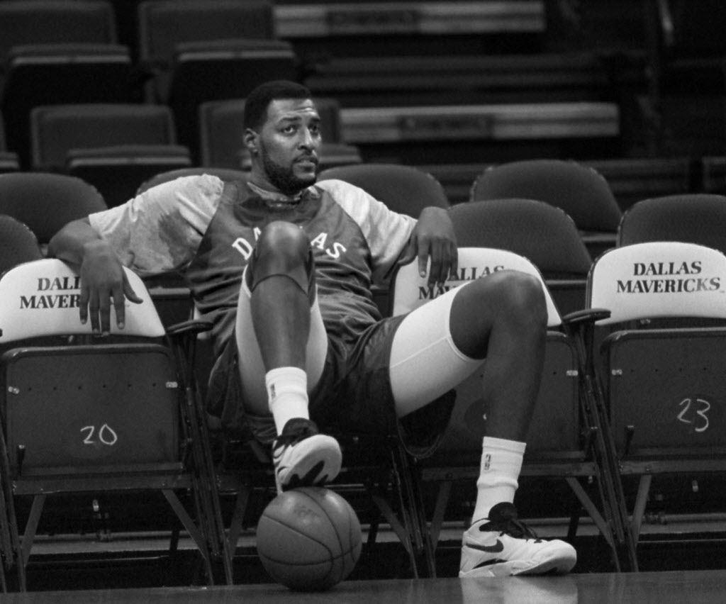 12/16/94 Mavericks' Roy Tarpley takes a  break during team practice Friday afternoon.