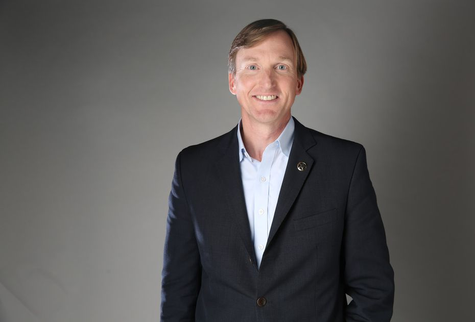 Democratic gubernatorial candidate Andrew White poses for a photograph in the photo studio at The Dallas Morning News office in Dallas on Wednesday, Jan. 31, 2018. (Rose Baca/The Dallas Morning News)