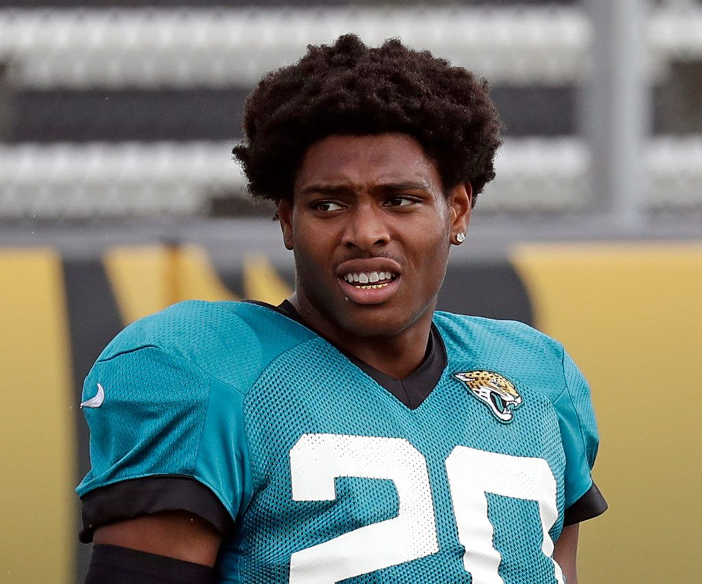 "FILE - In this July 31, 2018, file photo, Jacksonville Jaguars cornerback Jalen Ramsey (20) takes a break during a practice at NFL football training camp in Jacksonville, Fla. Since Fowler is suspended for the regular-season opener, the Jaguars are getting him a little more work before leaving the team for a week. Fowler welcomes the opportunity since he knows this is likely his final season in Jacksonville. He's essentially starting his 2019 free agency pitch six months early. Fowler says his goal is to ""show people that I'm a franchise player."" (AP Photo/John Raoux, File)"