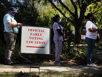 Voters wait in line at Martin Weiss Recreation Center in Dallas to cast their votes, Wednesday, October 14, 2020, the second day of early voting in Texas. (Tom Fox/The Dallas Morning News)