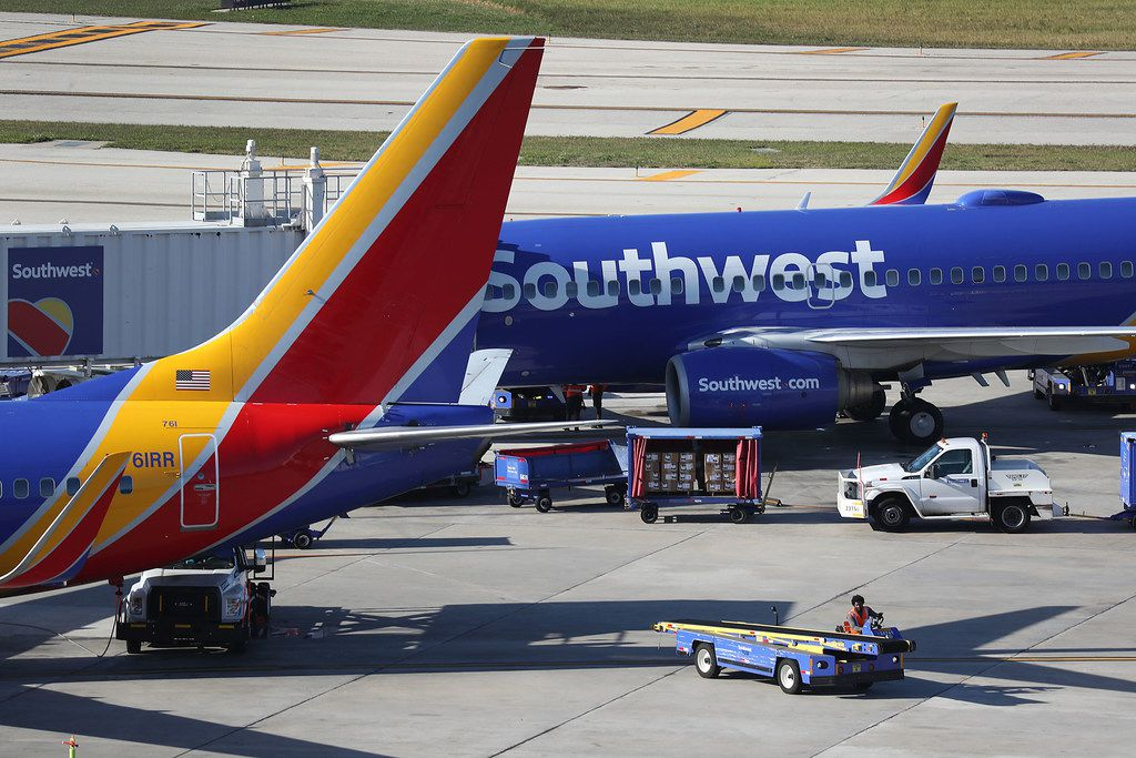 Southwest Airline planes were grounded for nearly an hour Friday morning because of computer problems. Flights resumed normally around 5:30 a.m.