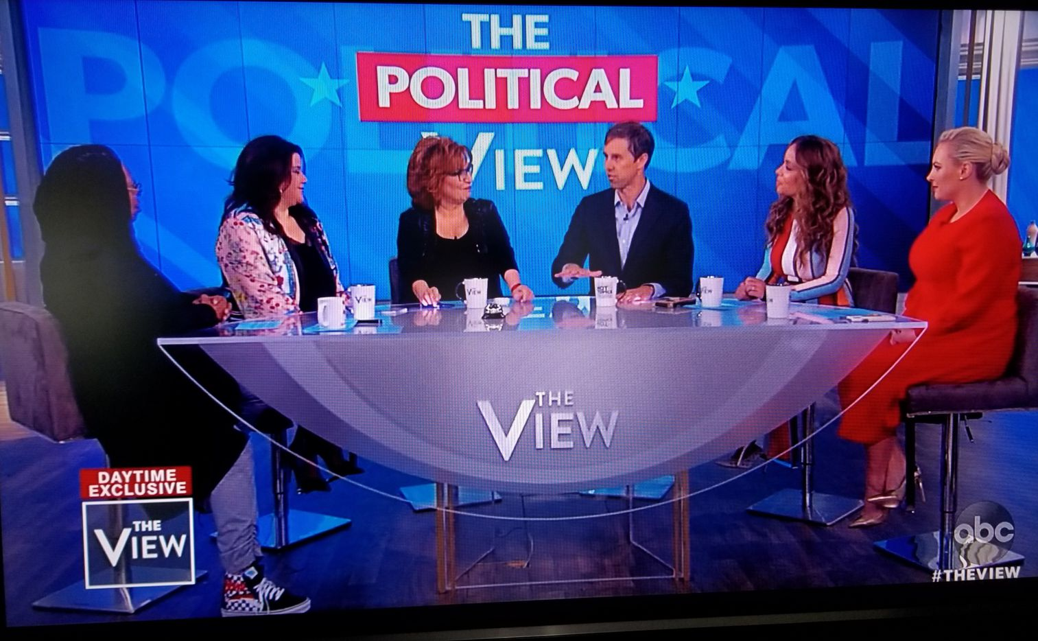 Screen grab from Beto O'Rourke's appearance May 14, 2019, on ABC's The View. Left to right: Whoopi Goldberg, Ana Navarro, Joy Behar, O'Rourke, Sunny Hostin and Meghan McCain.