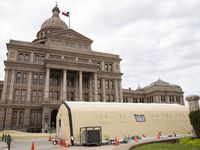 Tents set up for rapid COVID tests in front of the Texas Capitol in Austin on Wednesday, March 17, 2021. (Juan Figueroa/ The Dallas Morning News)