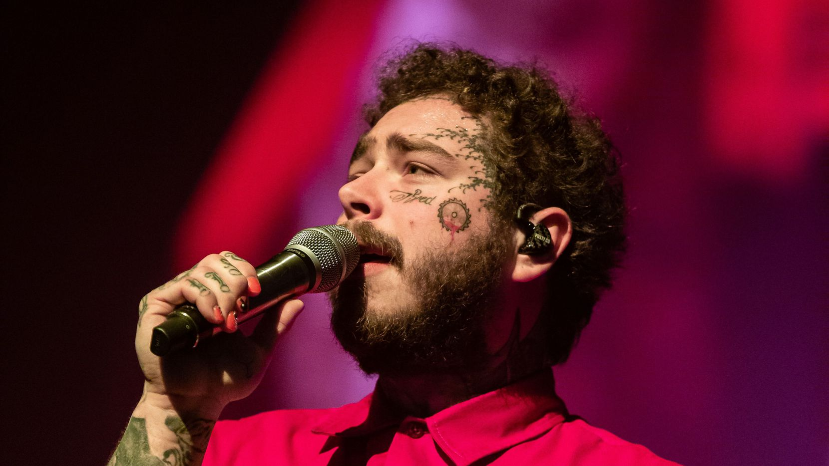 "Post Malone performed onstage during his ""Runaway Tour"" at the Frank Erwin Center in Austin on March 10, shortly before the novel coronavirus led him to postpone the tour."