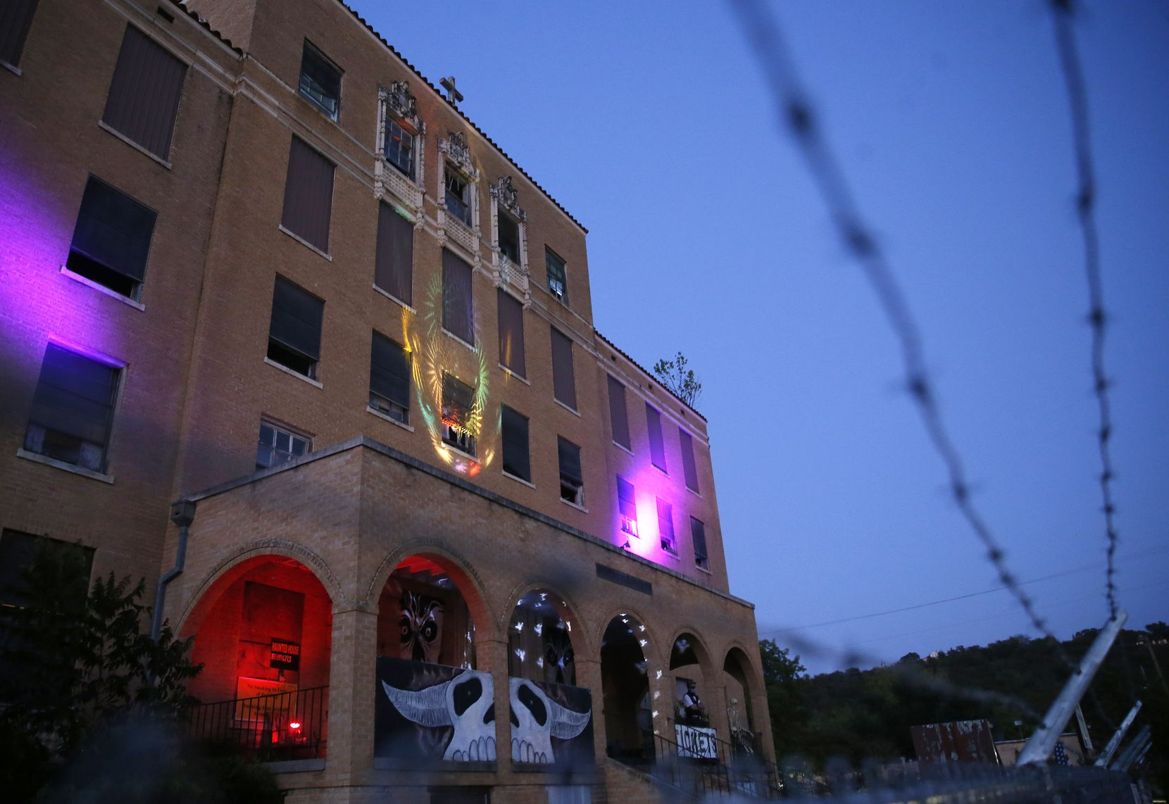 The exterior of Texas Scaregrounds Nazareth Hospital in Mineral Wells, Texas appears on Saturday, Oct. 3.