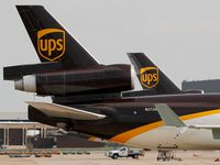 A United Parcel Service aircraft taxis to its hangar area after it arrived at DFW Airport.