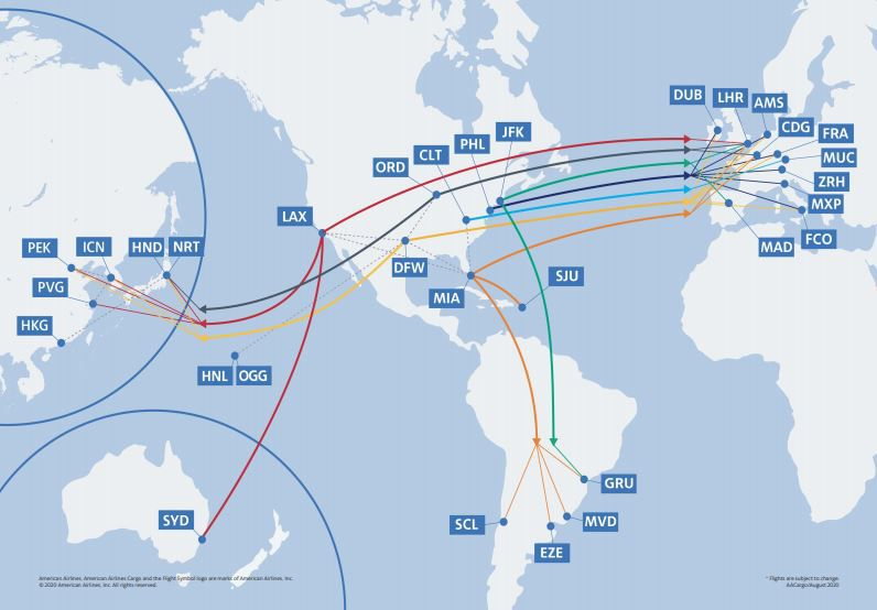American Airlines' cargo-only route map for August 2020.