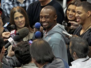 """Dallas Mavericks guard Jason """"Jet"""" Terry talks with the media at the Mavericks practice gym at the American Airlines Center  on Thursday, December 1, 2011."""