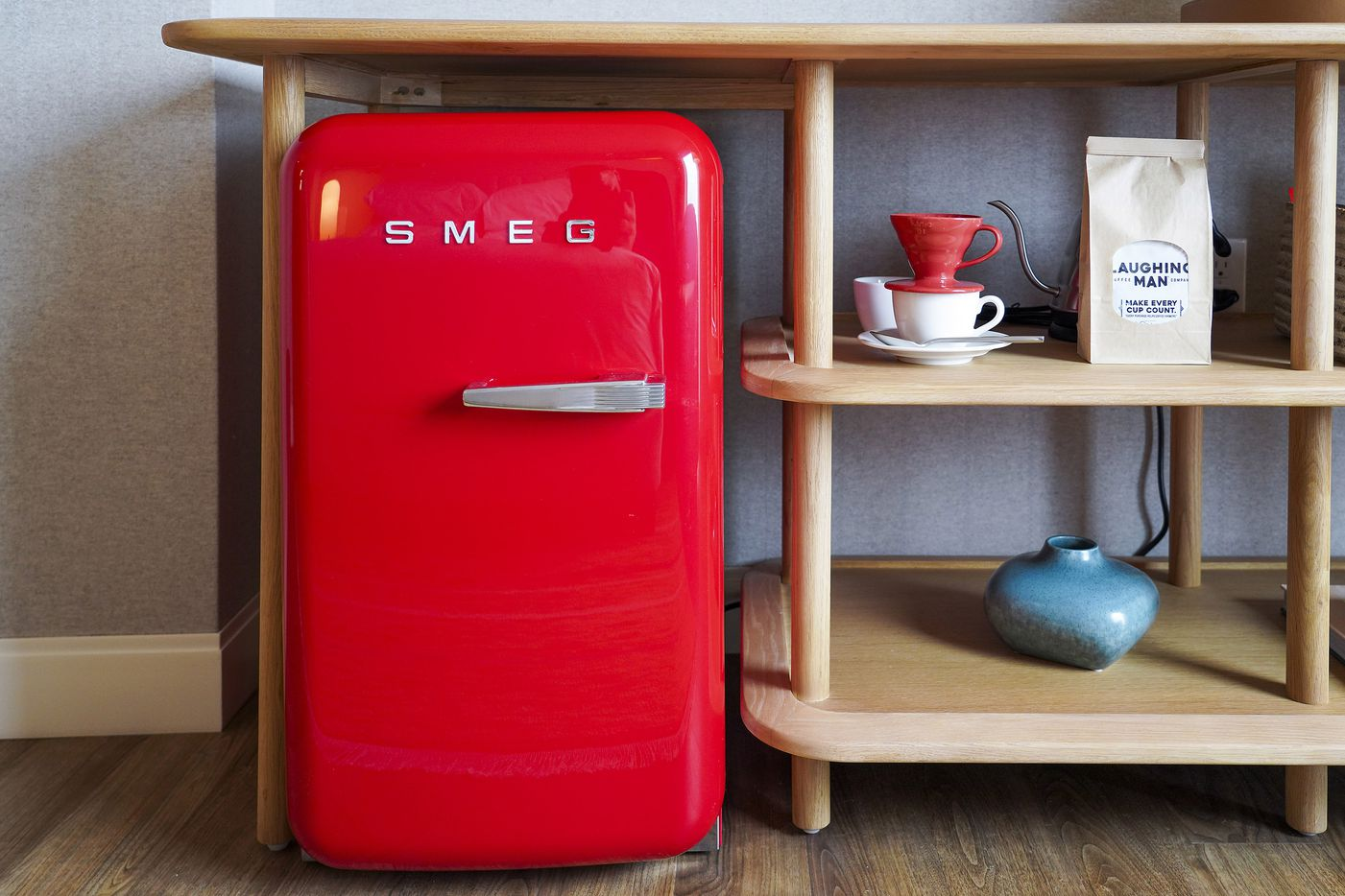 A SMEG mini-fridge and Laughing Man coffee service in a standard Chamber at new the Virgin Hotels Dallas on Monday, Dec. 16, 2019, in Dallas. The newly built hotel is at 1445 Turtle Creek in the Dallas Design District.