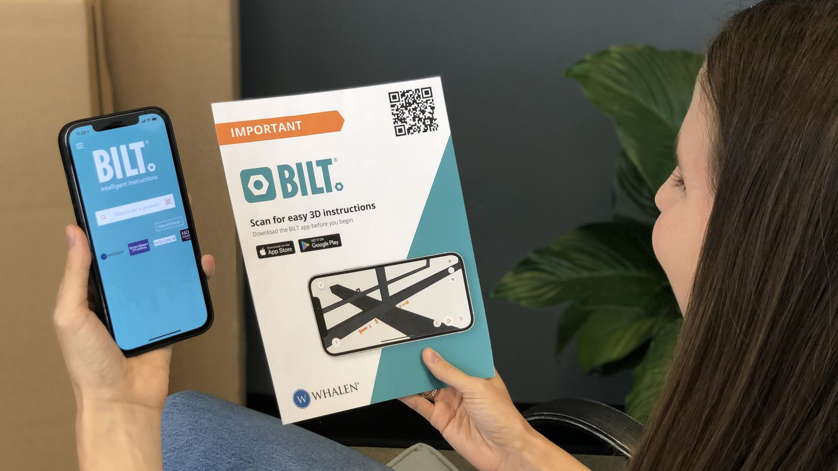 Consumers who buy an item with a BILT tutorial can scan a QR code and download an interactive tutorial for assembly.