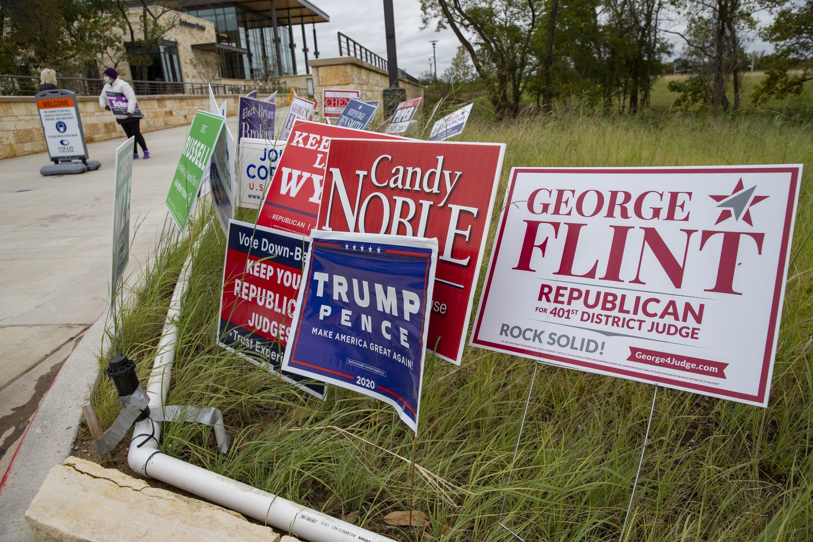 Political signs at the Collin College campus in Wylie photographed on Thursday, Oct. 29, 2020. (Juan Figueroa/ The Dallas Morning News)