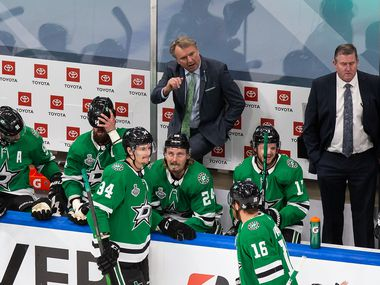 Interim head coach Rick Bowness of the Dallas Stars on the bench during Game Two of the Stanley Cup Final against the Tampa Bay Lightning at Rogers Place in Edmonton, Alberta, Canada on Wednesday, September 23, 2020.