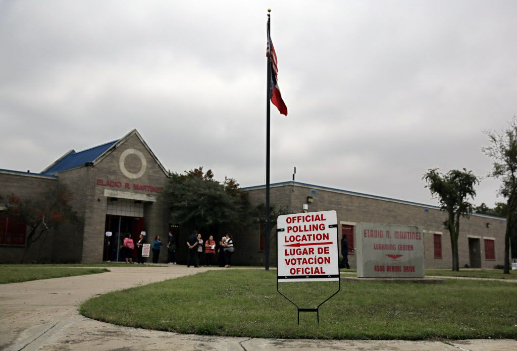 An exterior photograph of Eladio Martinez Learning Center taken Tuesday, November 8, 2016 in west Dallas. Some residents of the area, including Natalie Tijerina, 81, are alleging a man signed them up for early voting against their will. When they attempted to vote at their precinct on Tuesday, they were initially denied and told they had mailed in an early voting ballot.