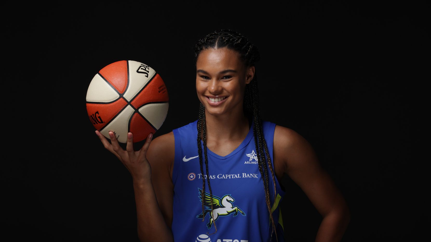 BRADENTON - JULY 16:  Satou Sabally #0 of the Dallas Wings poses for a portrait during Media Day on July 16, 2020 at IMG Academy in Bradenton, Florida. NOTE TO USER: User expressly acknowledges and agrees that, by downloading and/or using this Photograph, user is consenting to the terms and conditions of the Getty Images License Agreement. Mandatory Copyright Notice: Copyright 2020 NBAE
