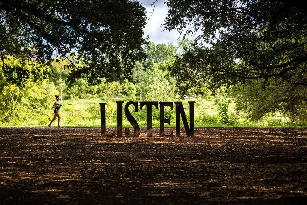 Buffalo Bayou Park in Houston includes word sculptures by Houston artist Anthony Thompson Shumate.