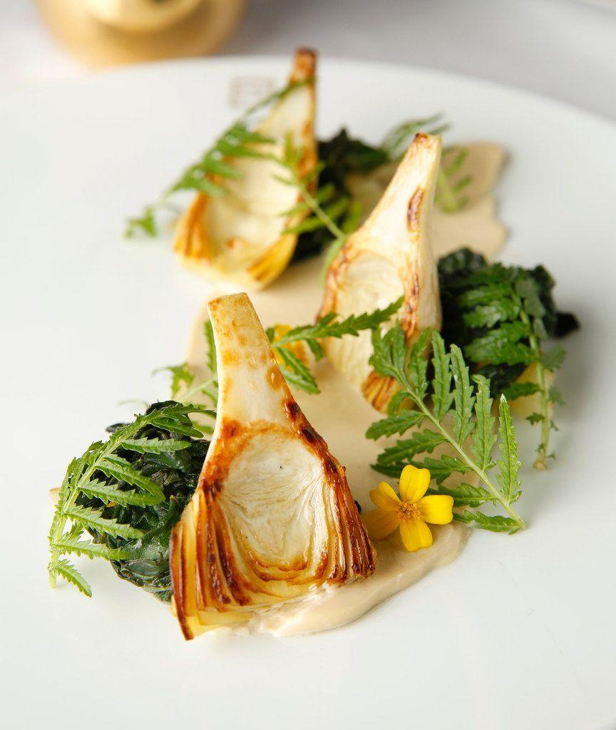 Globe artichoke with celery branch and gentleman's relish