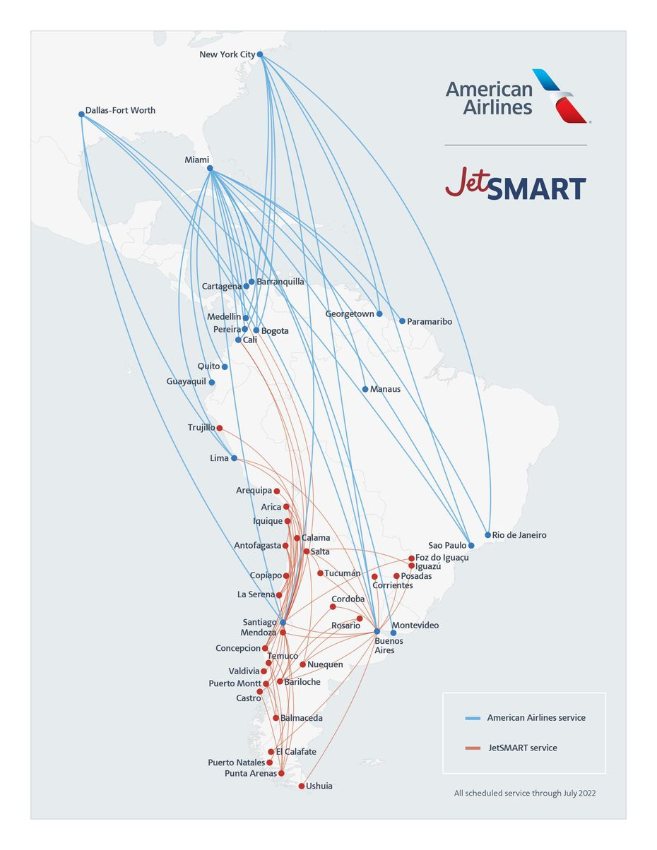 The proposed route map and network with the proposed partnership between American Airlines and Chilean carrier JetSmart.