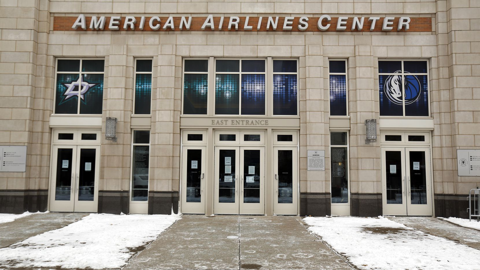 Because of the widespread loss of electricity from the snow storm, the Dallas Stars and Dallas Mavericks have canceled games at the now closed American Airlines Center in Dallas to preserve energy, Tuesday, February 16, 2021.