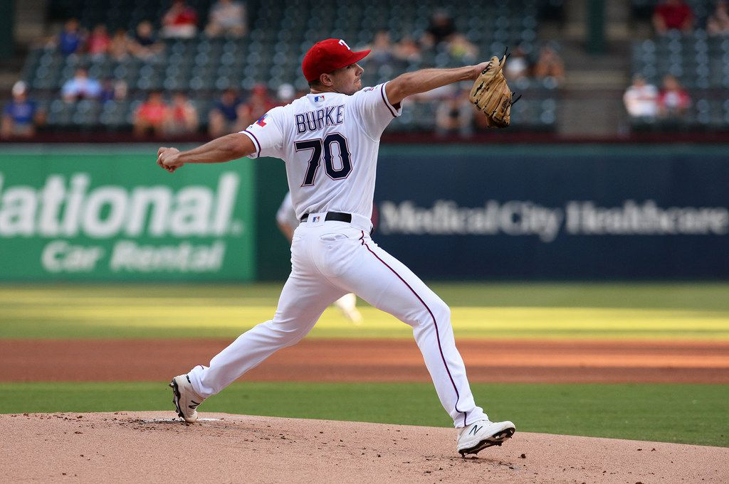 Brock Burke of the Texas Rangers pitches against the Los Angeles Angels in the first inning during the second game of a doubleheader at Globe Life Park in Arlington on Tuesday, Aug. 20, 2019, in Arlington, Texas. The Rangers avoided a sweep, 3-2, in 11 innings. (C. Morgan Engel/Getty Images/TNS) **FOR USE WITH THIS STORY ONLY**