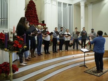 Verdigris rehearses at Royal Lane Baptist Church in Dallas, Texas on Saturday, December 2, 2017. The ensemble is preparing for its Christmas concert.  (Lawrence Jenkins/Special Contributor)