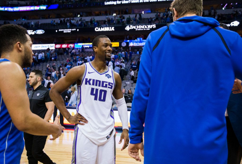 Sacramento Kings forward Harrison Barnes (40) greets Dallas Mavericks forward Dirk Nowitzki (41) after an NBA game between the Dallas Mavericks and the Sacramento Kings on Tuesday, March 26, 2019 at American Airlines Center in Dallas.