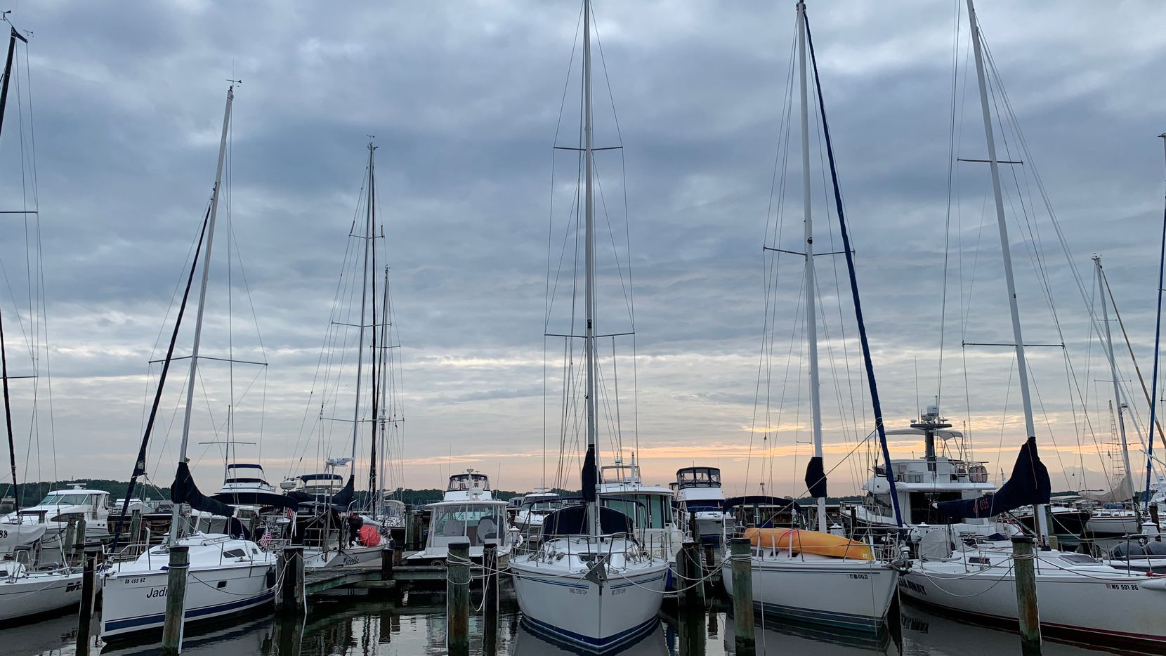 Wind Song (center) is shown at rest in the Eastport district of Annapolis, Md.
