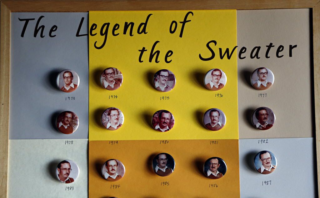Dale Irby's daughter, Sara Larkin, had buttons made of her father's now famous yearbook photos for his retirement party last month. Irby, who taught in the Richardson Independent School District, wore the same shirt and sweater for every school yearbook photo spanning a four-decade career.