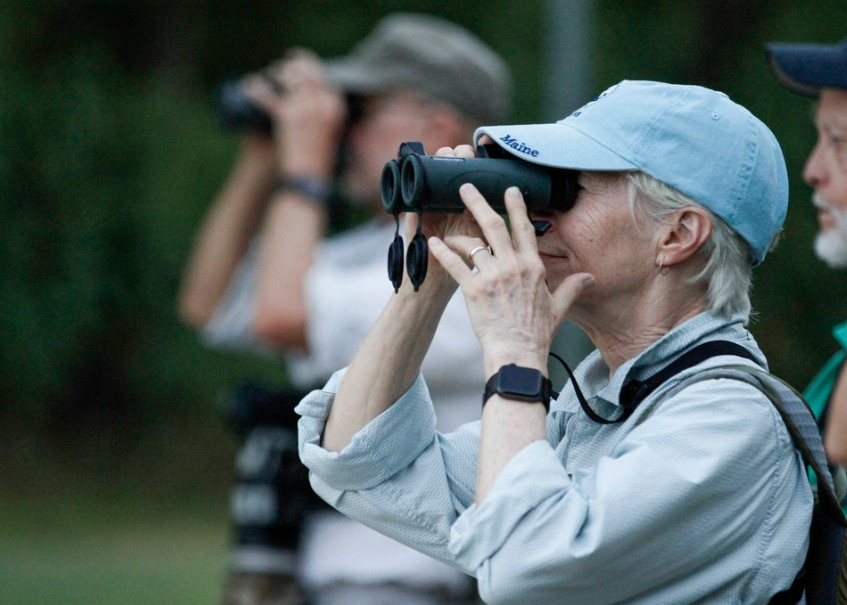 Kris Carlson of Dallas watches for birds with other members of the Prairie and Timbers Audubon Society Chapter of McKinney while taking a guided nature tour in the Joppa Preserve in the Trinity Forest in Dallas Saturday September 21, 2019.